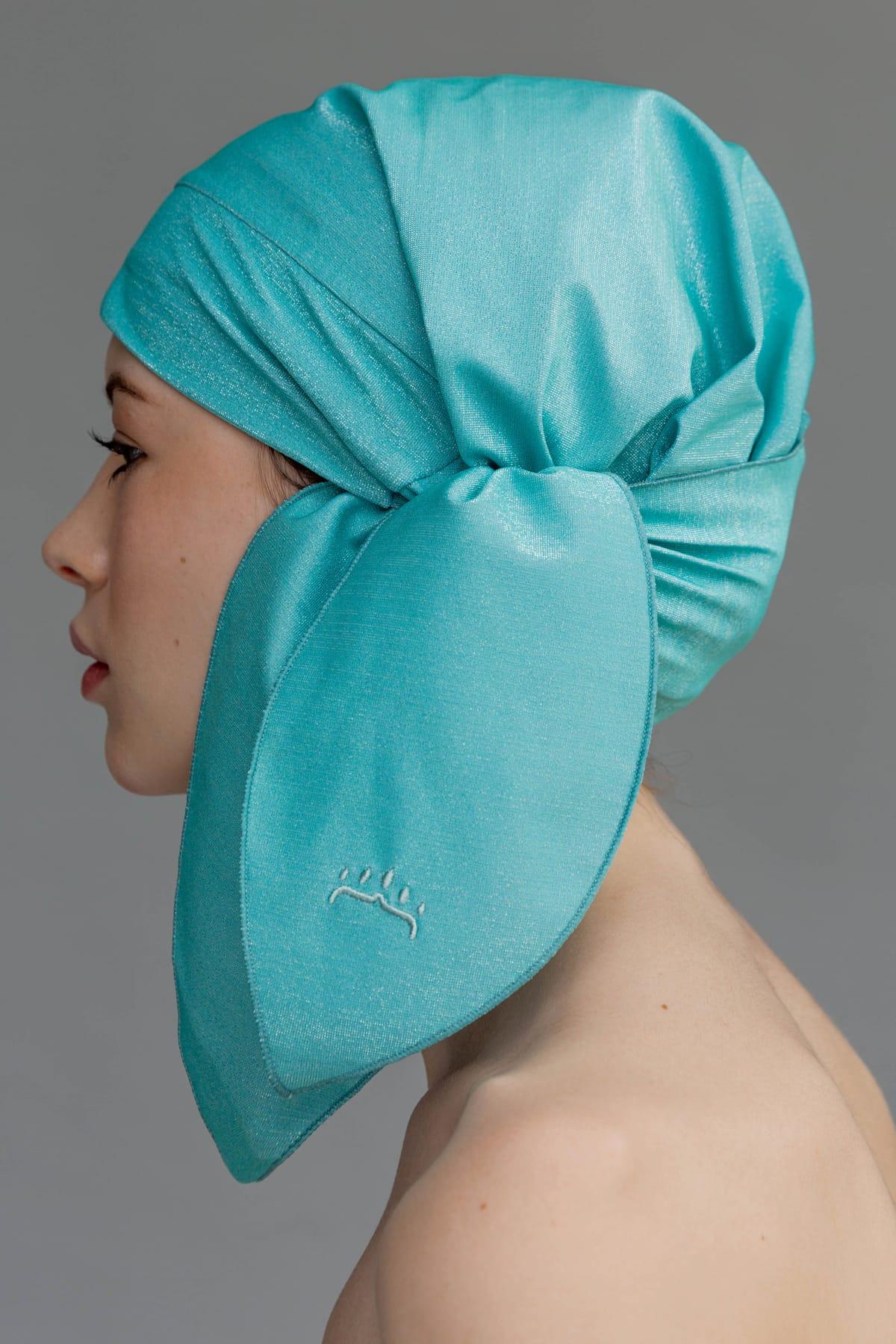 Gorro de ducha color turquesa